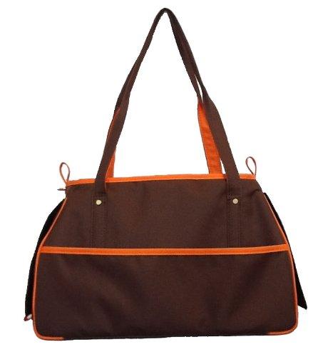 Petote Charlie Pet Carrier Bag, Cocoa Brown/Orange
