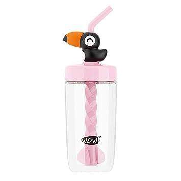Yitye Botella de agua de plástico para beber niños y niños con pajita jugando juegos pájaros