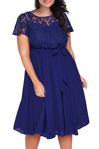 - Nemidor Women's Scooped Neckline Floral lace Top Plus Size Cocktail Party Midi Dress (16W, Blue)