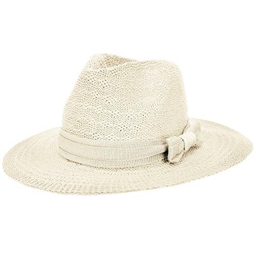 Aerusi Coco Women's Ivory White Open Knit Fedora Hat