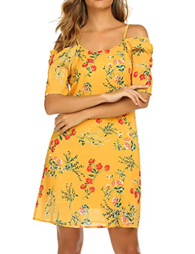 Naggoo Women's Summer Chiffon Floral Printed Cold Shoulder Swing Loose Short Dress Yellow S (Printed Chiffon)