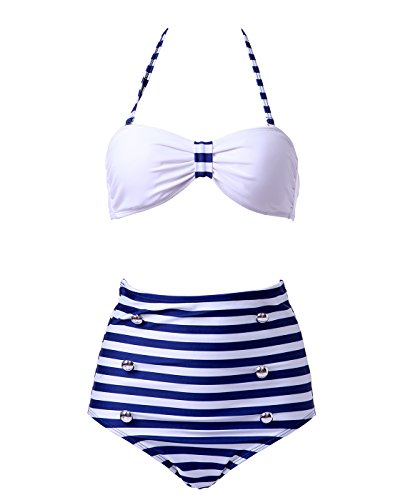 HDE - Conjunto - para mujer White Top with Blue Stripe Bottom