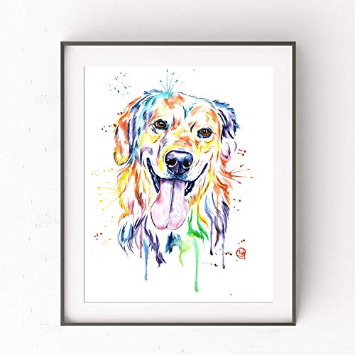 Golden Retriever Wall Art by Whitehouse Art | Golden Retriever Gifts, Dog Gifts For Dog Lovers, Playroom Decor, Dog Mom | Professional Print of Golden Retriever Original Watercolor Painting | 5 Sizes