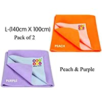 BeyBee Waterproof Baby Bed Protector Dry Sheet for New Born Babies Gifts Pack, (Large Combo of 2, Peach/Violet)