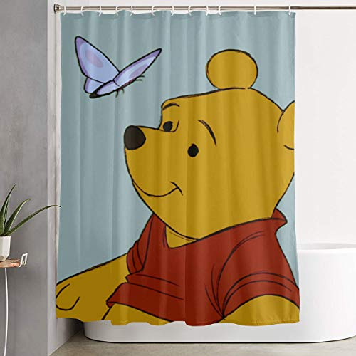 LIUYAN Shower Curtain with Hook - Winnie The Pooh with Butterfly Waterproof Polyester Fabric Bathroom Decor 60 X 72 Inches