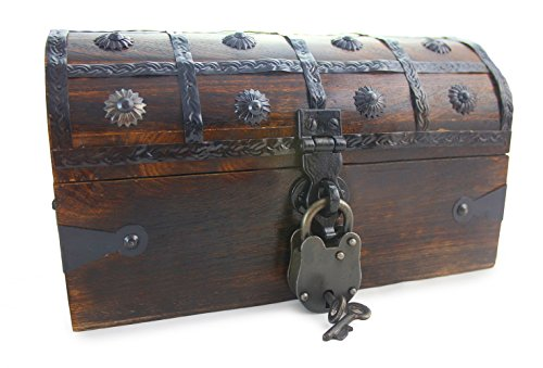 Well Pack Box Wooden Pirate Treasure Chest Box 11 x 7 x 7 Anne Bonnie Model Authentic Antique Style With Black Hasp Latch Includes Master Padlock & Vintage Skeleton Keys