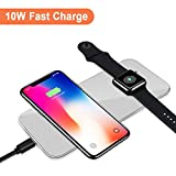 VRURC Magnetic Wireless Charger for Apple Watch, 2-in-1 Pad Stand Cable Compatible with iWatch Series 1/2/3, 38mm 42mm, for iPhone X/8/8 Plus, for Samsung S8/Note 8