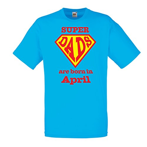 lepni.me T Shirts For Men Super Dads Are Born In April Anniversary Gifts him (Small Blue Multi Color)