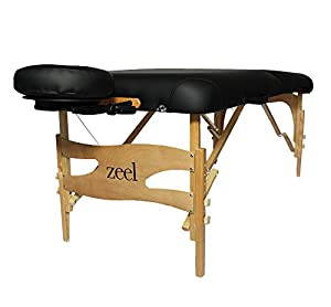ZEEL Portable Massage Table and Black Nylon Carrying Case — Eco-Friendly Design, Deluxe Face Cradle Foam Cushion, Spa-Quality Adjustable Frame