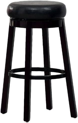 Furniture of America Barthe Leatherette and Wood Swivel Bar Stool, Black, Set of 2