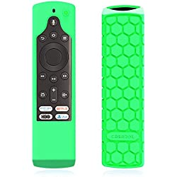 CaseBot Silicone Case for Fire TV Edition Remote - Honey Comb Series [Anti Slip] Shock Proof Cover for Amazon All-New Insignia / Toshiba 4K Smart TV Voice Remote / Element Smart TV Voice Remote, Green-Glow