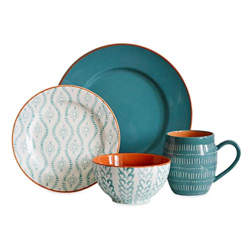 TANGIERS TURQUOISE 16 PIECE DINNERWARE SET -