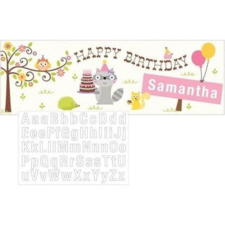 Happi Woodland niña Pancarta de Feliz cumpleaños Gigante con ...
