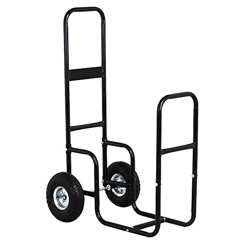 totoshop Heavy Duty Steel Firewood Log Rack Dolly Cart Carrier Trolley Wood Mover Hauler New Black by totoshop