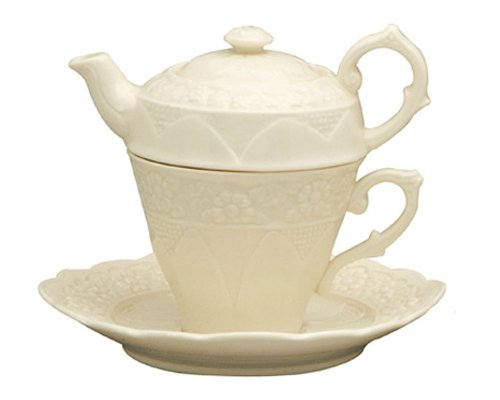 Gracie China by Coastline Imports, Tea For One Teapot Set 7-1/2-Inch, Creamware, Floral
