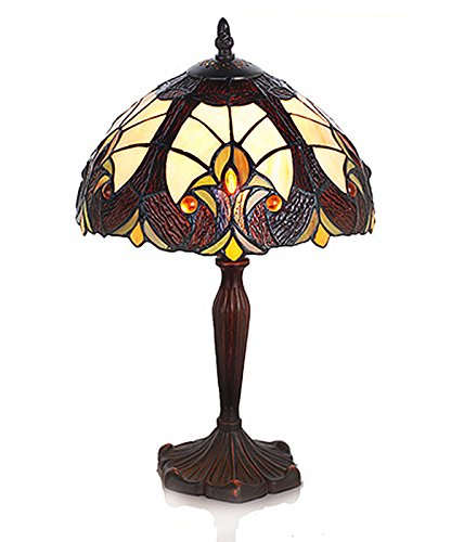 River of Goods 16-Inch Tiffany Style Stained Glass Amber and Brown Table Lamp (Brown Glass Table Lamp)