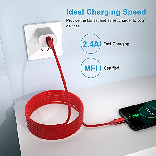 iPhone Charger Cord 20FT/6M [Apple MFi Certified] Extra Long iPhone Cable Fast Apple Charger Cable Nylon Braided USB Lightning Cable 2.4A for iPhone 12 Pro Mini 11 Pro X XS Max XR 8 7 (Red)