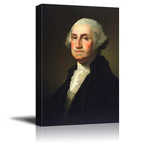 wall26 - Portrait of George Washington by Gilbert Stuart (1st President of The United States) - American Presidents Series - Canvas Wall Art Gallery Wrap Ready to Hang - 12x18 inches