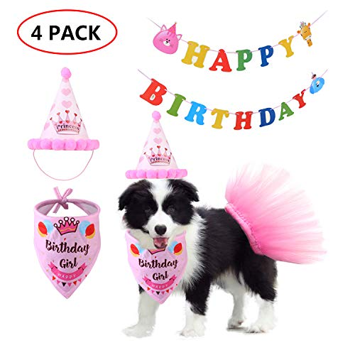 Outfits For Large Dogs (Vehomy Dog Birthday Bandana Scarf, Dog Tutu Skirt, Dog Birthday Hat, Dog Birthday Bunting Banner, Birthday Party Supplies Set for Pet Girl Puppy Cat, Pink Outfit for Medium Small Pet)