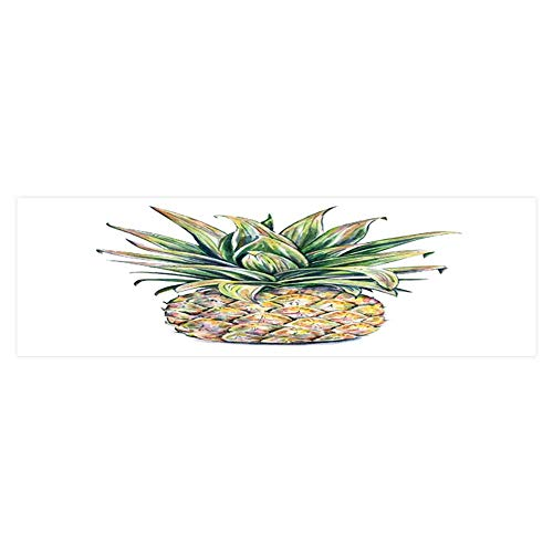 Dragonhome Fish Tank Background Pineapple on a White Background Colourful Tropical fruitwork Pictures PVC Decoration Paper Cling Decals Sticker L23.6 x H15.7