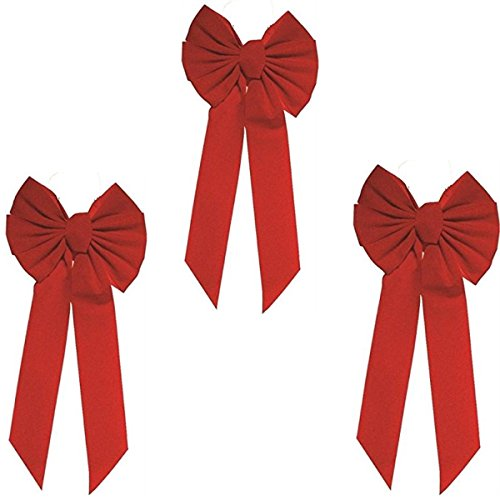(Rocky Mountain Goods Red Bow - Christmas Wreath Bow - Great for Large Gifts - Indoor/Outdoor use - Hand Tied in USA - Waterproof Velvet - Attachment tie Included for Easy Hanging (20-Inch 3 Pack))
