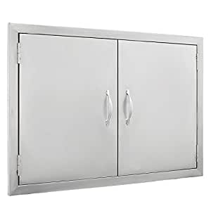"Z-bond BBQ Access Door 30.5""W x21""H Double BBQ Island Door 304 Stainless Doors Double Door Flush Mount Great for Outdoor Kitchen"