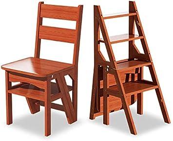 STOOL Escalera de mano Taburetes de casa, escalera de tijera plegable Taburete de madera de 4