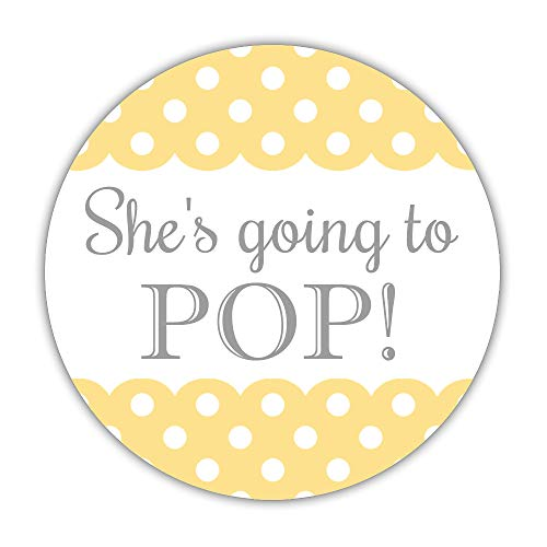 40 Ready to pop Stickers, 2 inches - Popcorn Favor Labels - About to pop lables (Sunrise) -
