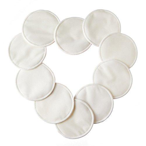 10pcs Discos de lactancia de bambú orgánico lavables Naturales Reutilizables Ultra Suaves y absorbentes discos para Lactancia Materna BulzEU