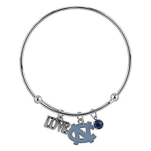 Bangle Wire Bracelet Love University of North Carolina with Blue Team Logo NC Charm