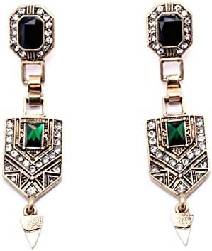 Women's Gold and Glass Emerald Estate Drop Earrings