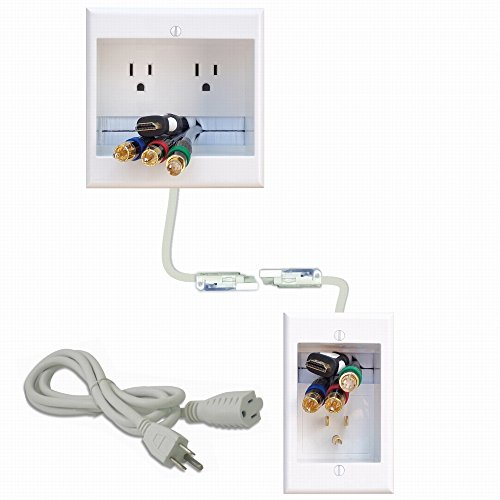 PowerBridge TWO-CK Dual Outlet Recessed In-Wall Cable Management System with PowerConnect for Wall-Mounted Flat Screen LED, LCD, and Plasma TV's (Recessed Finish Mount)