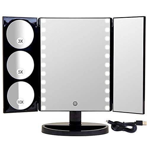 Mirrorvana X-Large LED Lighted Trifold Makeup Mirror