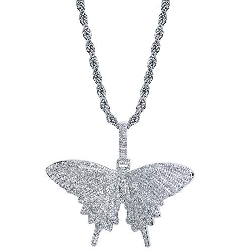 TOPGRILLZ Fully Iced Out Lab Diamond 3D Butterfly Pendant Necklace for Men and Women Hip Hop Birthday Jewelry Gifts (White Gold)