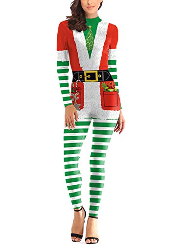 Ninkisann Women Adults Christmas Cosplay Costume 3D Print Long Sleeve Christmas Tree Catsuit Jumpsuit Bodysuit,S/M -