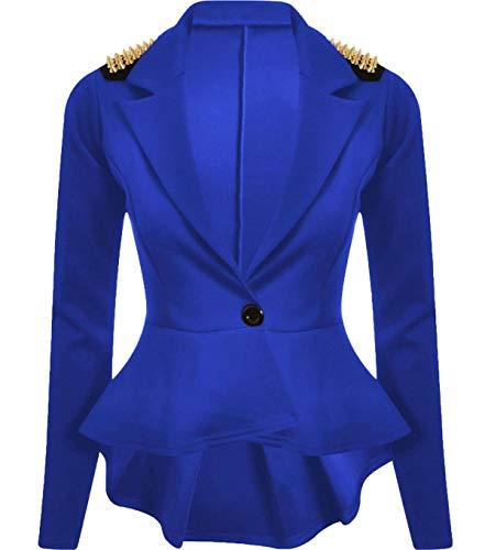 Fit Slim 3xl Blazer Fancy Party Royal Giacca Wear Peplum Spike S Studded Fashions Ladies Dress Islander Womens gwqfH77
