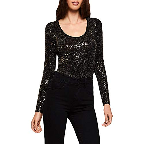 BCBGeneration Womens Metallic Sequined Bodysuit Gold S