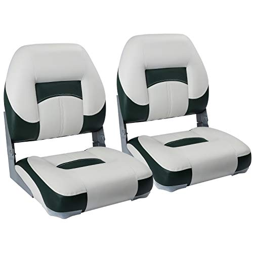 North Captain T1 Deluxe Low Back Folding Boat Seat (2 Seats),White/Green