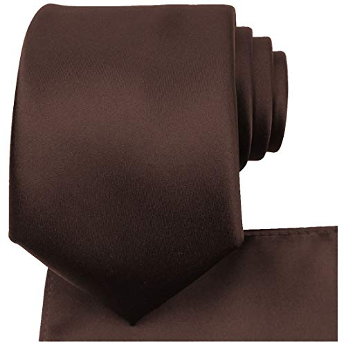 Kisses Truffle - KissTies Truffle Brown Necktie Set Solid Satin Tie + Pocket Square + Gift Box