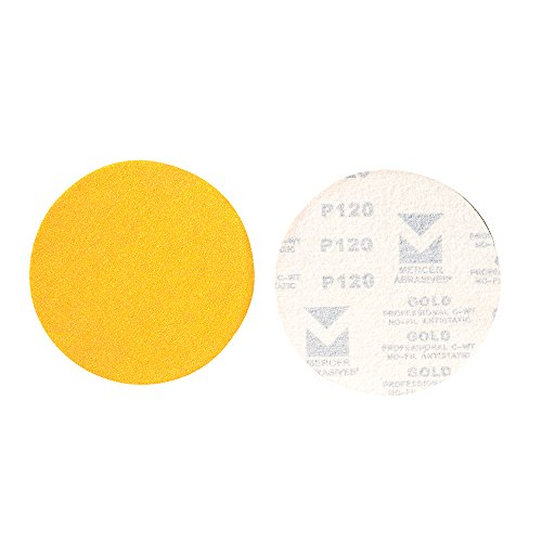 Mercer Industries 5530080 Hook   Loop Premium Gold Stearated Non Loading Disc  Aluminum Oxide  5  X No Dust Holes  Grit 80C  50 Pack