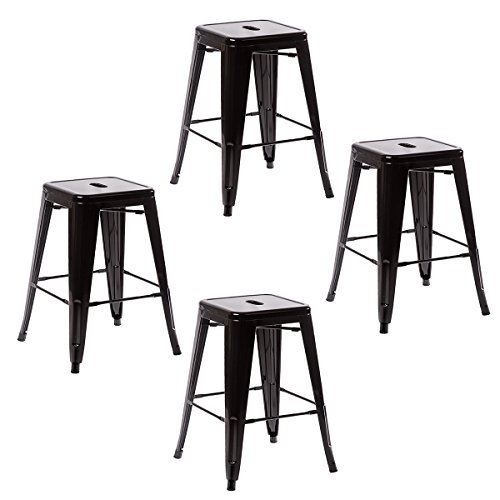 Cheap New Set Of Metal Frame Tolix Style Bar Stool Industrial Chair (4, 24″ Black)