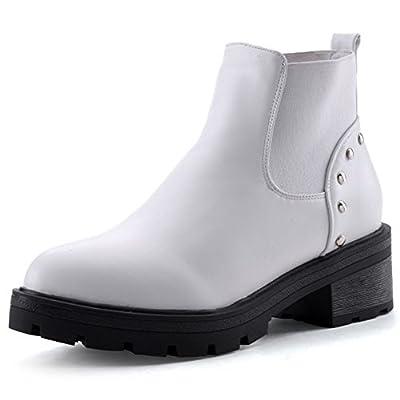 Summerwhisper Women's Trendy Rivets Studded Ankle High Elastic Chunky Low Heel Platform Short Boots