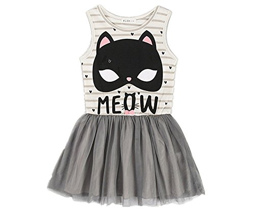 Princess Dresses For Teenagers (Comfybuy Cute Kitty Soft Casual Stripes Princess Dress for Baby Teen Girls Free Hairpin 7-8Y)