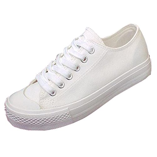 Women's Canvas All White Lace Sneakers (White) - 9