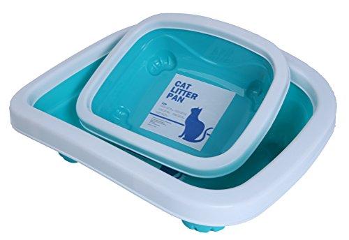 Woo Woo Pets Cat Litter Pan with Curve Rim Blue Medium by Woo Woo Pets