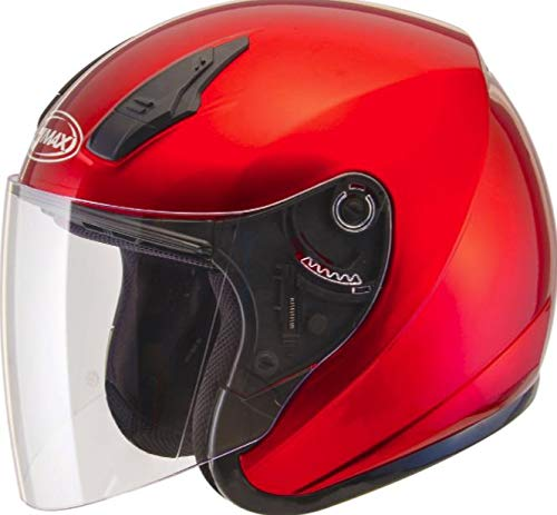 GMAX OF-17 Adult Open-Face Street Motorcycle Helmet - Candy Red/Medium