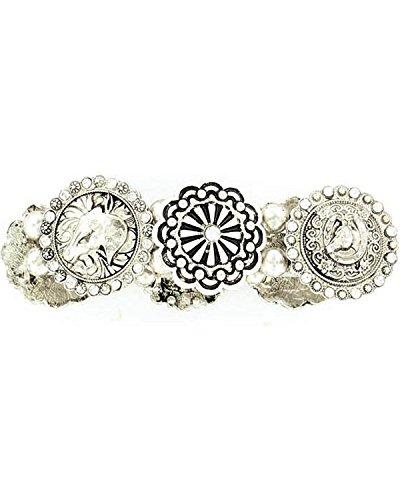 Blazin Roxx Women's Fancy Concho Stretch Bracelet Silver One Size