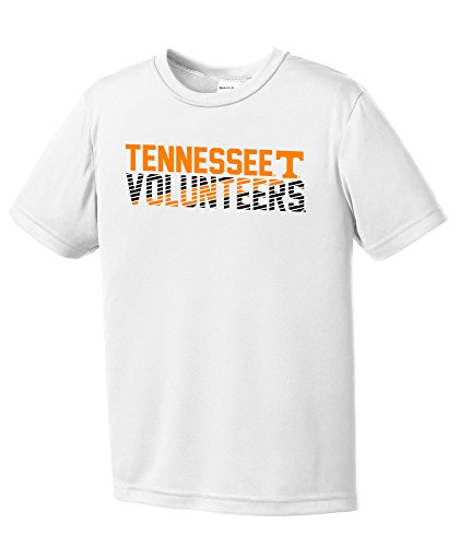 Tennessee Volunteers Vols Football - Image One NCAA Tennessee Volunteers Youth Boys Diagonal Short sleeve Polyester Competitor T-Shirt, Youth Large,White
