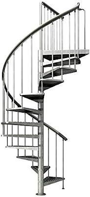 Escalera de husillo galvanizada, altura de planta: 246 – 282 cm, diámetro 155 cm, escalones y pedestal: metal perforado, escalera de jardín: Amazon.es: Bricolaje y herramientas
