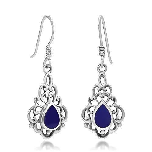 (925 Sterling Silver Bali Inspired Blue Stone Filigree Dangle Hook Earrings)